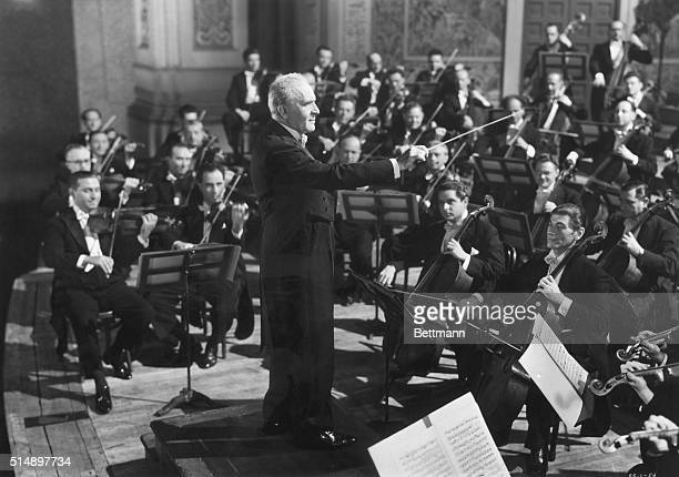 Dr Bruno Walter leading the Philharmonic Orchestra
