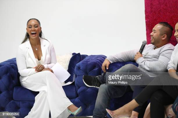 Dr Bryant and Daniel Lopez speak onstage during the 2018 Beauty The Beats Celebrity Party and Panel Discussion at Dream Magic Studios on February 15...