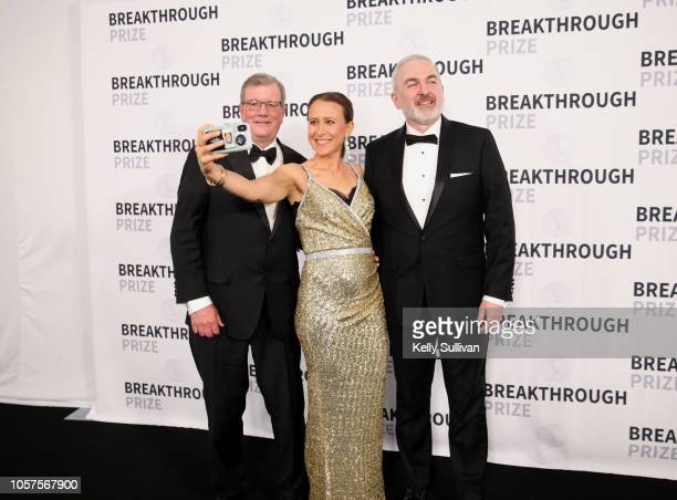 Dr C Frank Bennett Anne Wojcick and Dr Adrian R Krainer attend the 2019 Breakthrough Prize at NASA Ames Research Center on November 4 2018 in...