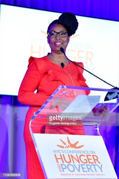 Dr Camesha Grant speaks onstage during the 29th Annual Conference on hunger and poverty hosted by the Food Bank of New York City at Marriott Marquis...