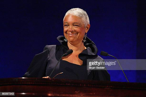 Dr Camille Cosby speaks on stage at the 35th Anniversary of the Jackie Robinson Foundation hosted by Bill Cosby at the Waldorf Astoria hotel on March...