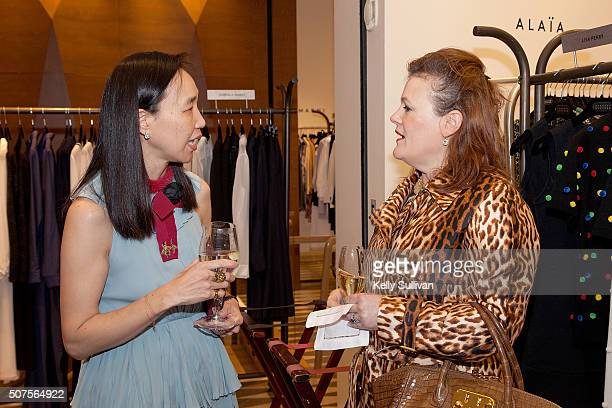 Dr Carolyn Chang and Jennifer Riser socialize at Barneys New York on January 29 2016 in San Francisco California