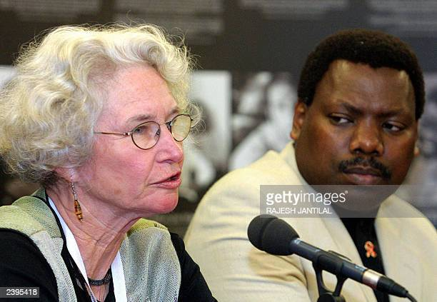 US Dr Catherine Wilfert of the Elizabeth Glaser Pediatric Aids Foundation briefs the media at Durban's International Convention Centre 06 August 2003...