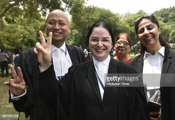 Dr Chandra Rajan an advocate along with her associates flashing the victory sign and talking to media about proceedings in the court on Triple Talaq...