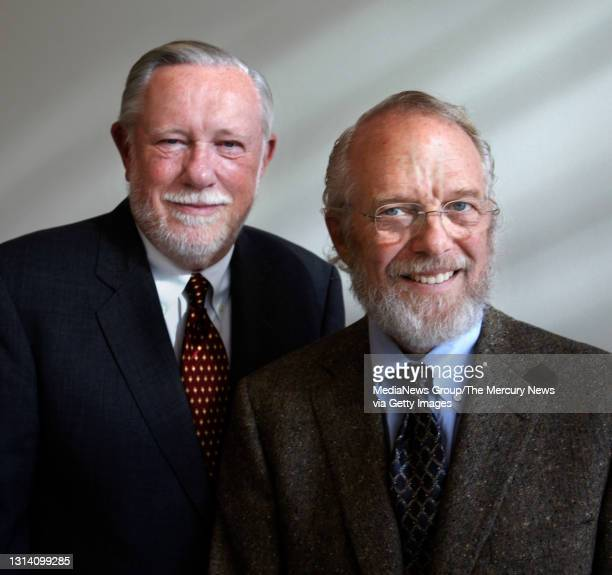Dr. Charles Geschke, left, and Dr. John Warnock, right, of Adobe Inc. Pose of a photograph at San Jose City Hall on Dec. 1, 2009 where the two were...