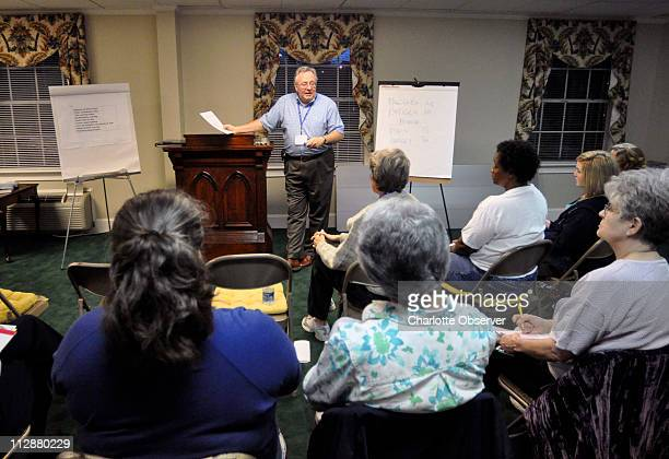 Dr Charles Lapp leads a group who suffer from chronic fatigue syndrome March 19 at Sharon Presbyterian Church in Charlotte North Carolina Lapp leads...
