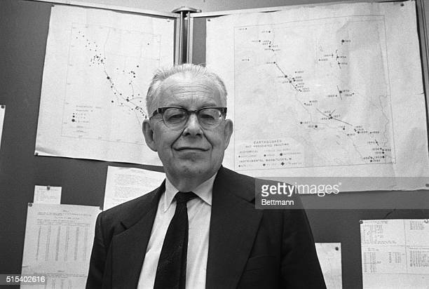 Dr. Charles Richter. Photo was made at his seismology laboratory in Pasadena, Cal.