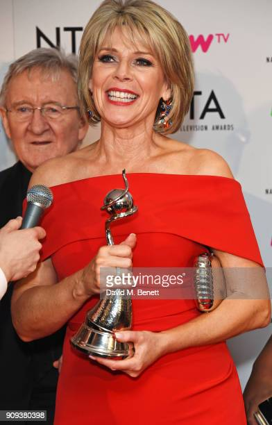 Dr Chris Steele and Ruth Langsford winners of the Daytime award for 'This Morning' pose in the press room at the National Television Awards 2018 at...