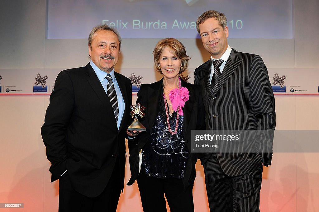 Dr. Christa Maar and Thomas Hermanns with Wolfgang Stumph attend the 'Felix Burda Award' at hotel Adlon on April 18, 2010 in Berlin, Germany.