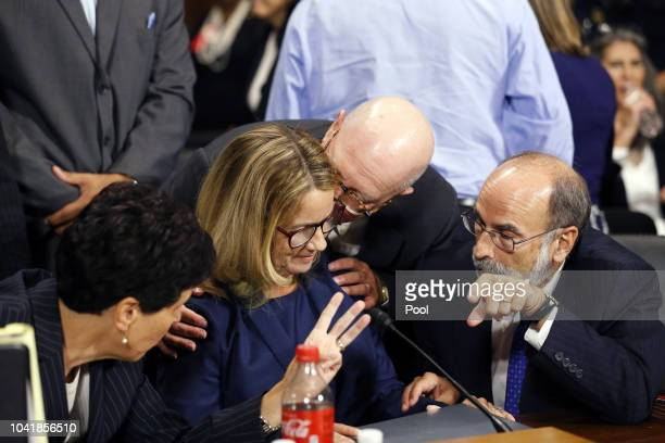 Dr Christine Blasey Ford and her attorneys Debra Katz and Michael Bromwich at the Senate Judiciary Committee hearing on the nomination of Brett...