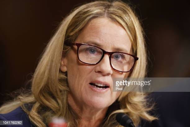 Dr Christine Blasey Ford speaks before the Senate Judiciary Committee hearing on the nomination of Brett Kavanaugh to be an associate justice of the...