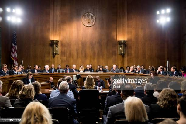Dr Christine Blasey Ford takes her seat to testify on Capitol Hill September 27 2018 in Washington DC A professor at Palo Alto University and a...