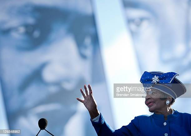 Dr Christine King Farris sister of Martin Luther King Jr waves after speaking at a dedication ceremony at the Martin Luther King Memorial on the...