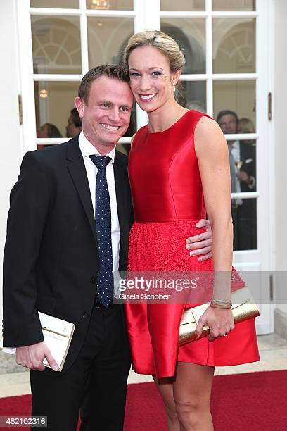 Dr Christine Theiss and her husband Hans Theiss during the 'Die Goldene Deutschland' Gala on July 26 2015 at Cuvillies Theater in Munich Germany