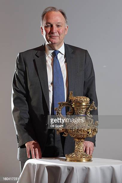 Dr Christopher Brown the Director of the Ashmolean Museum poses in the Institute of Contemporary Arts with a 'silver gilt ewer with enamelled royal...