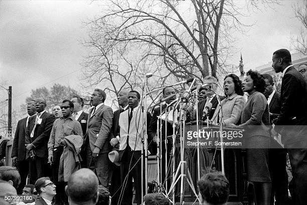 Dr Civil rights and Union leaders Left Cleveland Robinson 3rd from front left author James Baldwin 4th from front left march planner Bayard Rustin...