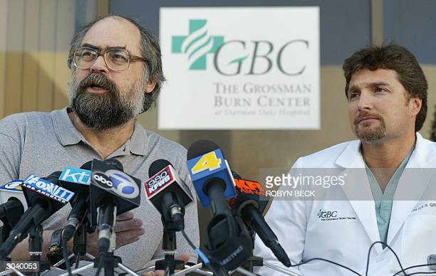 Dr Clifford Kahn and Dr Peter Grossman describe the treatment of Eric LeMarque during a press conference at the Grossman Burn Center at Sherman Oaks...