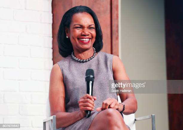 Dr Condoleezza Rice chats with guests at the KPMG Women's Leadership Summit prior to the start of the 2017 KPMG Women's PGA Championship at Olympia...
