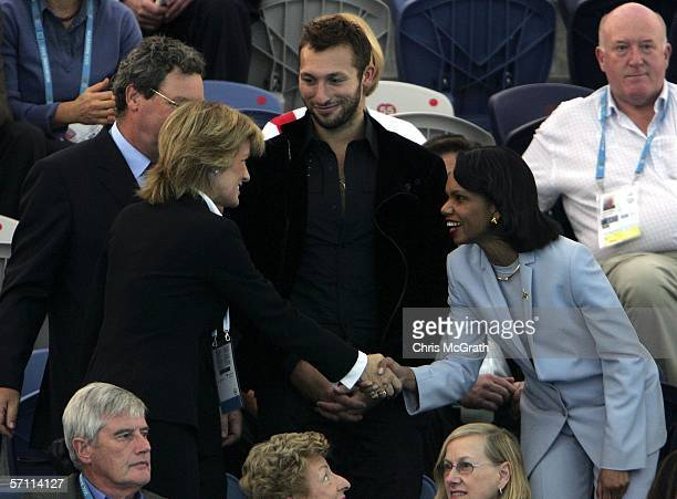 Dr Condoleezza Rice the National Security Advisor of the United States of America shakes hands with Nicky Downer the wife of Alexander Downer...