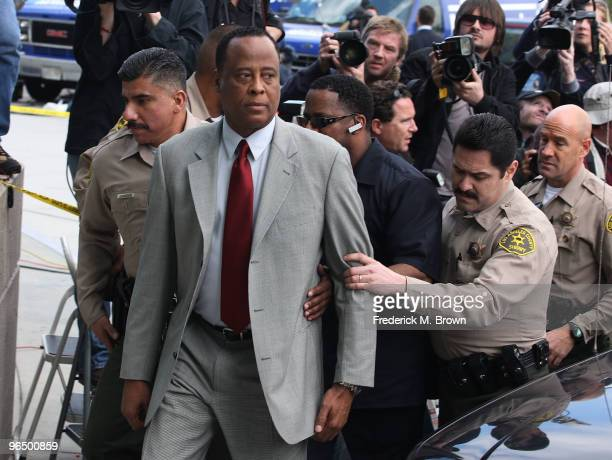 Dr Conrad Murray arrives for his arraignment of at the Airport Los Angeles Courthouse on February 8 2010 in Los Angeles California