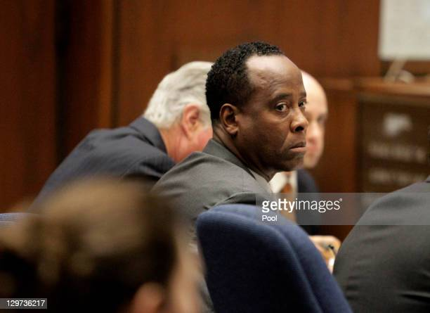Dr Conrad Murray looks on during his involuntary manslaughter trial on October 20 2011 in downtown Los Angeles California Murray faces four years in...