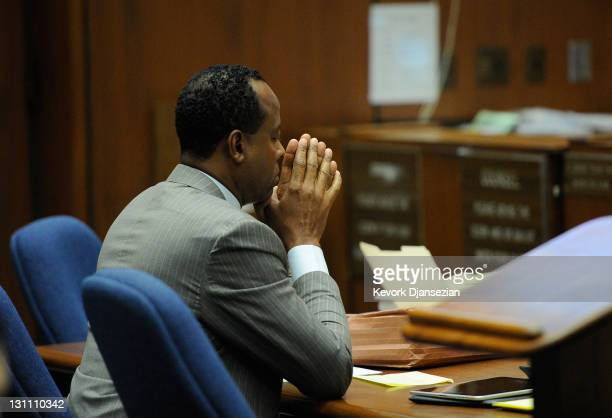 Dr Conrad Murray looks on during the final stage of Conrad Murray's defense in his involuntary manslaughter trial in the death of singer Michael...