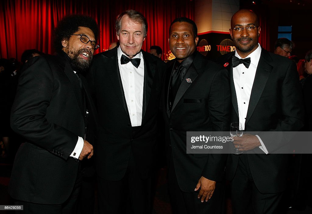 Dr Cornel West, Charlie Rose, Tavis Smiley and Van Jones attends Time's 100 Most Influential People in the World Gala at the Frederick P. Rose Hall at Jazz at Lincoln Center on May 5, 2009 in New York City.