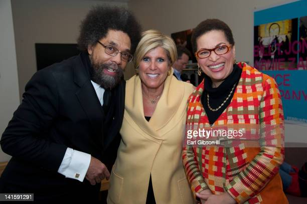 Dr Cornel West Suze Orman and Julianne Malveaux backstage for the Made Visible Women Children Poverty in America at the NYU Skirball Center on March...