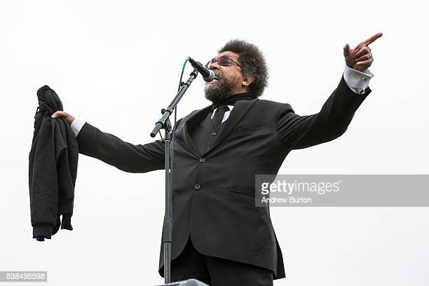 Dr Cornell West speaks at a rally held by Democratic presidential candidate Senator Bernie Sanders at the Presidio on June 6 2016 in San Francisco...