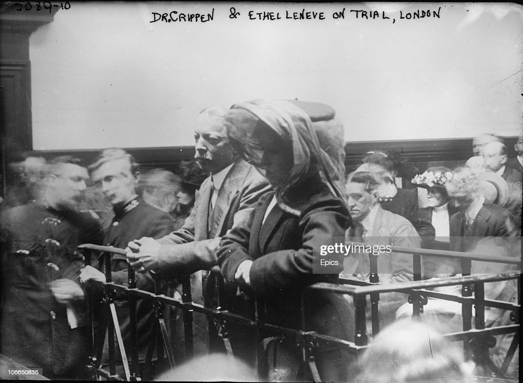 Dr Crippen and Ethel Le Neve on trial in London, 1910. Dr Hawley Harvey Crippen murdered his second wife Belle Elmore at their home in London. After being found guilty at the Old Bailey, he was hanged at Pentonville on 23rd November 1910.