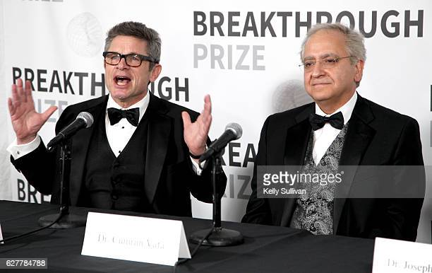 Dr Cumrun Vafa and physicist Andrew Strominger attend the 2017 Breakthrough Prize at NASA Ames Research Center on December 4 2016 in Mountain View...
