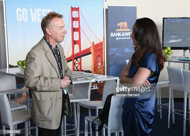 Dr Cynthia Breazeal of the MIT Personal Robots Group Media Lab speaks with a delegate at The New York Times Global Forum with Thomas L Friedman at...