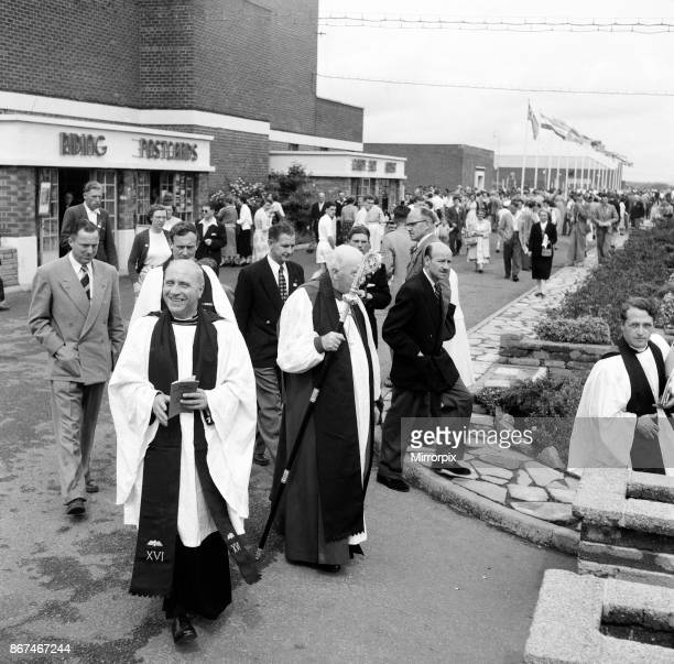 Dr Cyril Garbett the Archbishop of York visiting Butlins Holiday Camp Filey North Yorkshire He visited Filey camp to conduct mass outdoor services...
