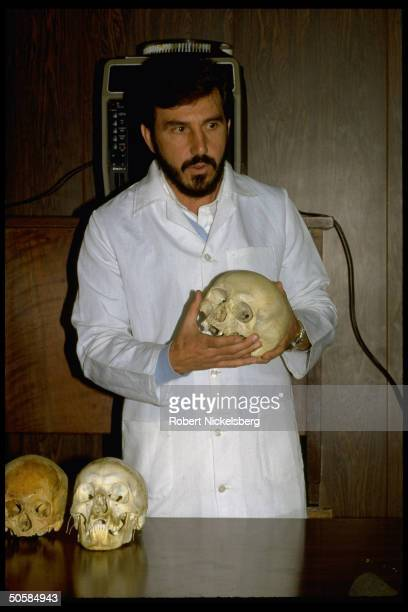 Dr. Daniel Romero Munoz presenting forensic evidence identifying exhumed skeleton as that of Nazi war criminal Dr. Josef Mengele.