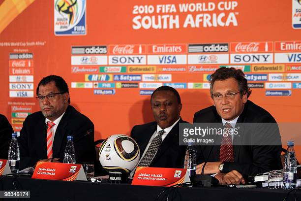Dr Danny Jordaan Irvin Khoza and Jerome Valcke speak during a press conference on April 8 2010 in Pretoria South Africa FIFA aim to reassure world...