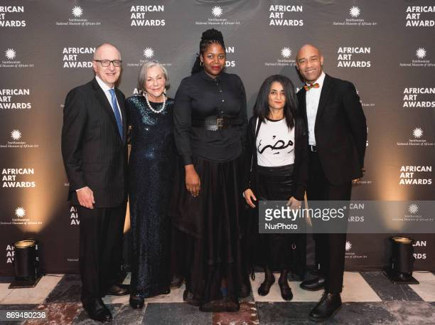 Dr David J Skorton 13th Secretary of the Smithsonian honorees philanthropist Alice Walton and artists Mary Sibande and Ghada Amer and Gus...