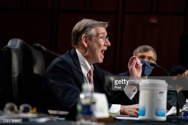 Dr. David Kessler, Chief Science Officer of the White House COVID-19 Response Team speaks during a hearing, with the Senate Committee on Health,...