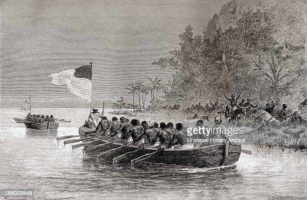 Dr David Livingstone In The First Boat Which Is Flying The English Flag And Henry Morton Stanley In The Second Boat Which Is Flying The American Flag...