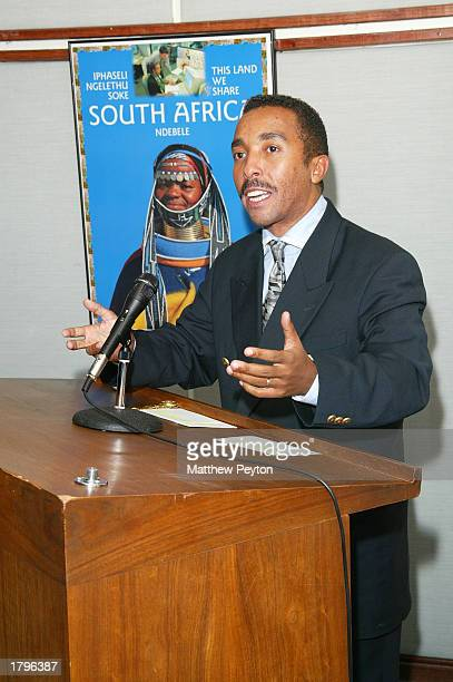 Dr David Molapo speaks during the New York premiere of Artisan's Amandla A Revolution In Four Part Harmony at South African Consulate on February 13...