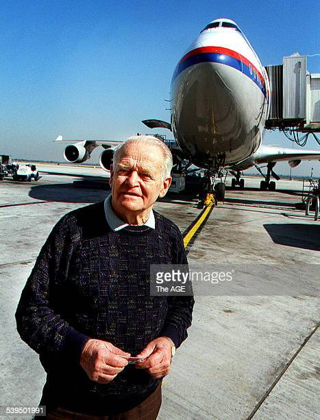 Dr David Warren inventor of the Black Box flight recorder with a Boeing 747 26 August 1998 THE AGE Picture by JOHN WOUDSTRA