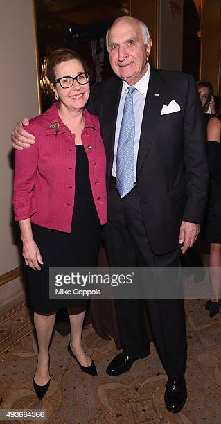 Dr Deborah Axelrod and Kenneth Langone attend NYU Langone Medical Center's Perlmutter Cancer Center Gala at The Plaza Hotel on October 21 2015 in New...
