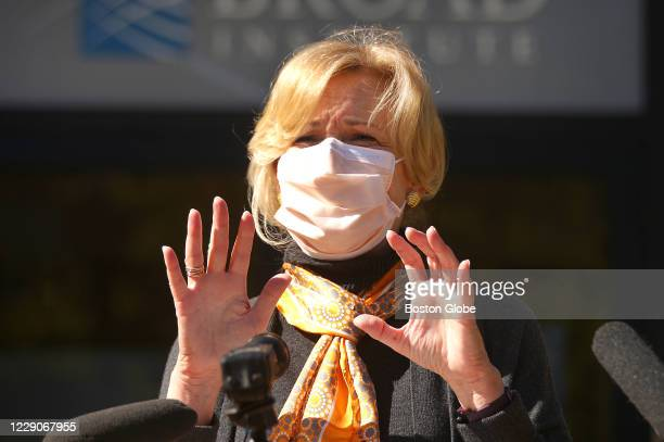 Dr. Deborah Birx speaks to the media outside the Broad Institute in Cambridge, MA on Oct. 9, 2020. In a visit to the high-capacity COVID-19 testing...