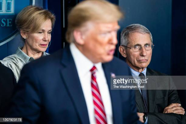 Dr. Deborah Birx, White House coronavirus response coordinator, and National Institute for Allergy and Infectious Diseases Director Dr. Anthony Fauci...