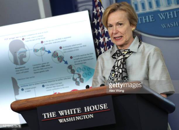 Dr Deborah Brix White House coronavirus response coordinator speaks during the daily briefing of the White House Coronavirus Task Force at the White...