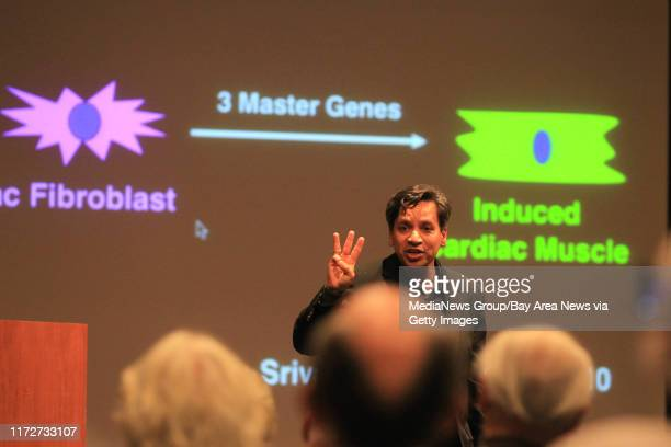 Dr Deepak Srivastava Senior Investigator at the Gladstone Institute of Cardiovascular Disease speaks during a presentation on stem cell technology at...