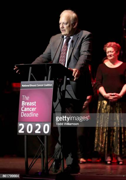 Dr Dennis J Slamon Les Girls Leadership Award recipient speaks onstage at National Breast Cancer Coalition Fund's 17th Annual Les Girls Cabaret at...
