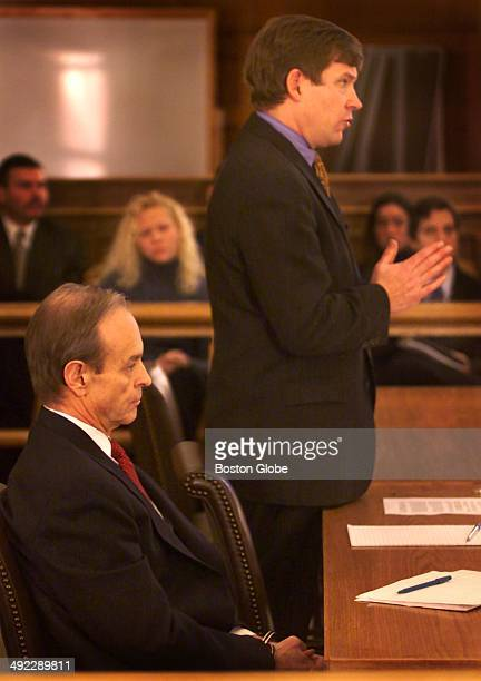 Dr Dirk Greineder listens as his attorney Martin Murphy argues a point during today's motion hearing at Norfolk Superior Court in Dedham Greineder an...