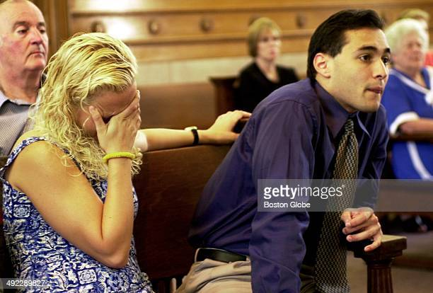 Dr Dirk Greineder 's daughter Britt Greineder breaks down during the testimony of her aunt Ilse Stark with her brother Colin Greineder right at...