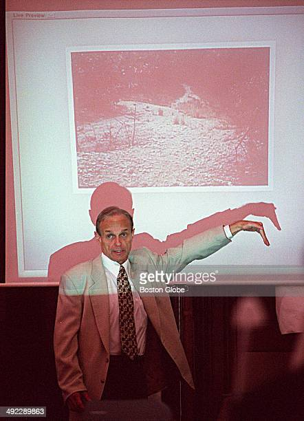 Dr Dirk Greineder speaks in front of a projected image of the Morses Pond area in Wellesley as he testifies while on trial for the murder of his wife...