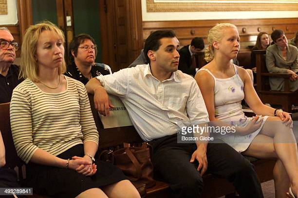 Dr Dirk Greineder's children left to right Kirsten Colin and Britt watch today's proceedings at Norfolk Superior Court in Dedham Mass on June 14 2001...